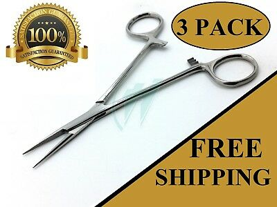 "3 Mosquito Hemostat Locking Micro Forceps Straight Fine Point 5"" Surgical"