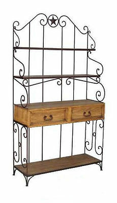 Wrought Iron Detail Bakers Rack Rustic Western Star Kitchen Rack Cabin Lodge