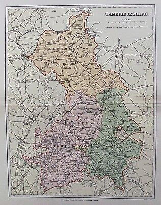 OLD ANTIQUE MAP CAMBRIDGESHIRE by WELLER c1880s Published MACKENZIE 19th CENTURY