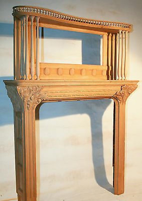 Richardson Romanesque fireplace mantle, solid oak, large opening, needs finish,
