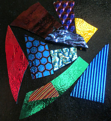 Dichroic Glass Scrap:4 Oz. CBS 96 COE Jewelers Variety Pack on Black