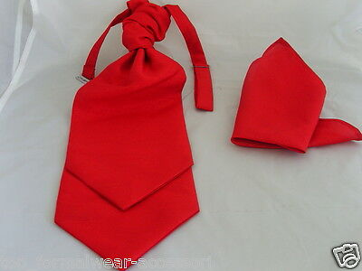 < GG > Polyester Red MENS Scrunchy Ruche Wedding Tie-Cravat and Hankie Set