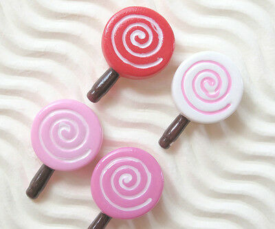 "US SELLER - 20 x 1/2"" Mix Resin Flatback Lolly Pop Candy Bead Appliques SB453"