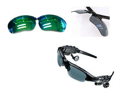 Replacement  Polarized  Lens Kit for MP3 Sunglasses Mirrored Green 2 pairs