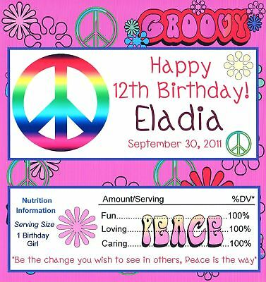 25 Peace Style 2 Birthday Candy Bar Wrappers