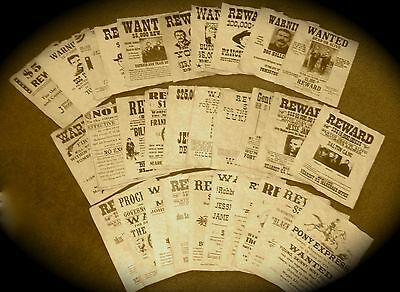 Large Lot of 30 Old West Outlaws Wanted Posters Jesse James Wyatt Earp Tombstone