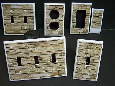 Faux Rustic Stacked Stone Wall  Shades Of Brown  Light Switch Cover Plate
