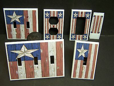 Americana Rustic Barn Star Folk Art Flag  Light Switch Cover Plate Or Outlet