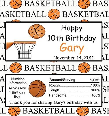 25 Personalized Basketball Birthday Candy Bar Wrappers