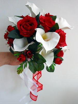 Wedding Posy Bouquet White Calla Lillies & Red Roses