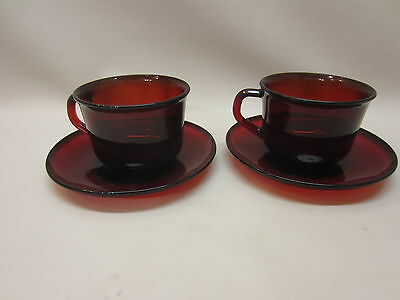 Arcoroc France Ruby Set of 2 Coffee/Tea Cups and Saucers