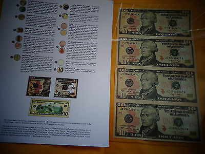 $10 UNCUT SHEET4 -$10x4 Legal USA 10 DOLLAR-Real  Currency Note Rare gift  Money