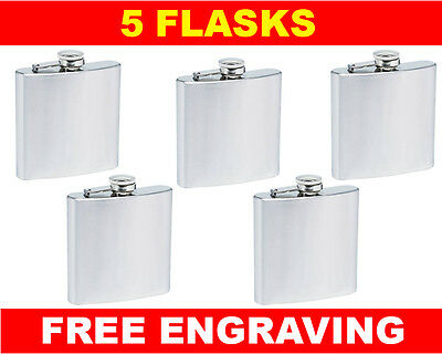 5 Personalized Flasks 6oz Groomsmen Best Man Brides Maids gifts free engraving