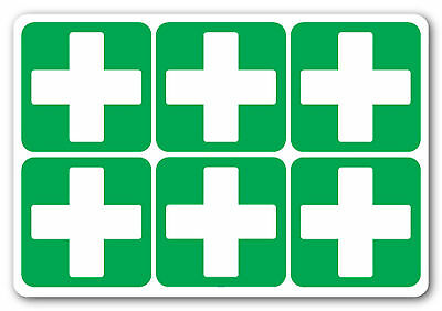 FIRST AID CROSS Square health and safety signs Stickers office pub 6No 50x50mm