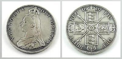 Great Britain Double Florin, 1887 - XF