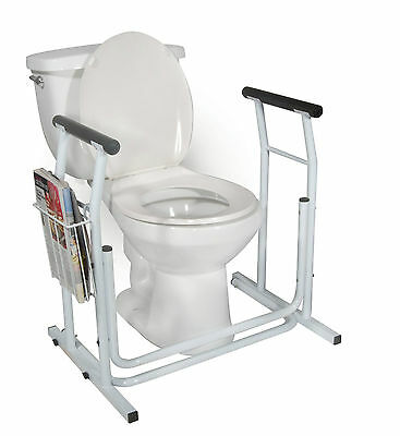 Stand Alone Toilet Safety Rail with Magazine Holder & Padded Armrests, Tool Free
