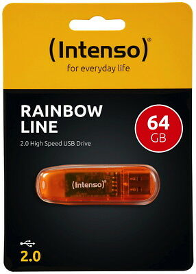 Intenso USB Stick 64GB Speicherstick Rainbow Line orange