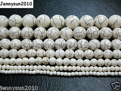 White Howlite Turquoise Gemstone Round Beads 15'' 3mm 4mm 6mm 8mm 10mm 12mm 14mm