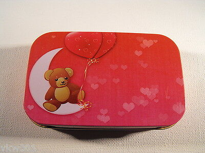 "1oz Metal, Cigarette/Tobacco/Pills Tin, Hinged, ""TEDDY ON THE MOON WITH BALLOON"""