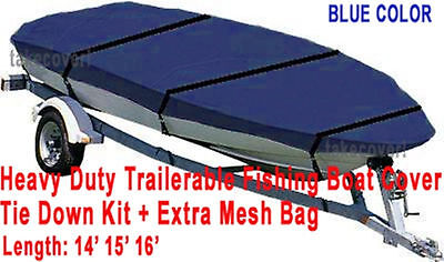 14' - 16' Aluminum Fishing Boat Cover Trailerable Blue Color Trailable FB