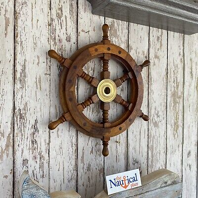 "12"" Ships Wheel ~ Wood / Brass ~ Nautical Maritime Decor ~ Pirate Captain"