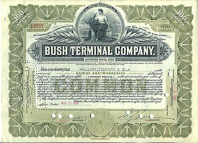 Bush Terminal Company Stock Certificate New York Shipping Railroad