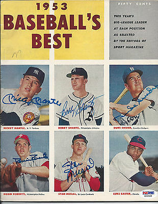 """Mickey Mantle & Others Psa/dna Signed 1953 """"1953 Baseball's Best"""" Magazine Auto"""