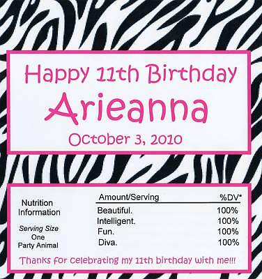 25 Personalized Zebra Print Birthday Candy Bar Wrappers