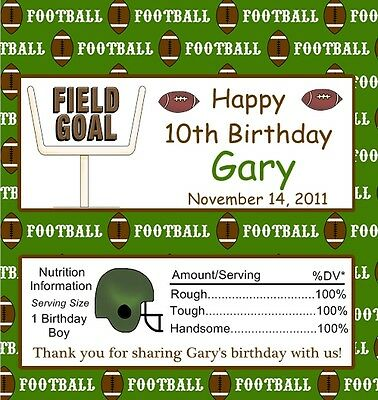 25 Personalized Football  Birthday Candy Bar Wrappers