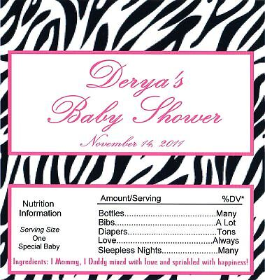Personalized Zebra Print Baby Shower Candy Bar Wrappers