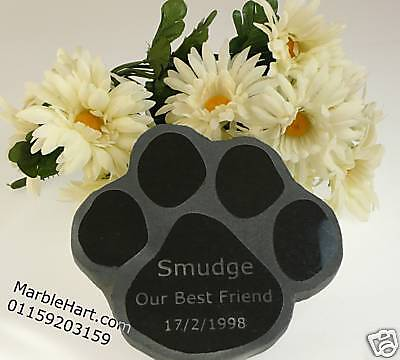 Dog Cat Memories Paw Print Pet Memorial £20.00  in NATURAL GRANITE