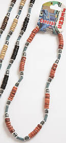Mens / Boys Coco Wood Denim & Metal Bead Surfer Style Necklace