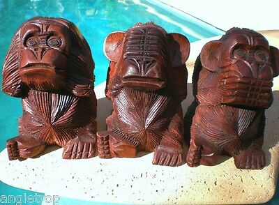 3 Three Wise Monkeys See Hear Speak No Evil Wood Carved Statue Bali Carving