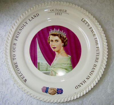 Queen Elizabeth 1957 Plate Commemorative Plate USA Visit from the UK