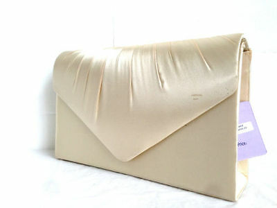 Nude Champagne White Ivory Black Red Satin Evening Clutch Bag Wedding Party Prom