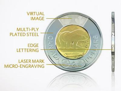 2012 $2 Toonie W/New Security Laser Etched Technology Engraving.