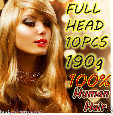 REMY HUMAN HAIR EXTENSIONS CLIP-IN ★★BLONDE★★BLACK★★BROWN★★TOP QUALITY★★
