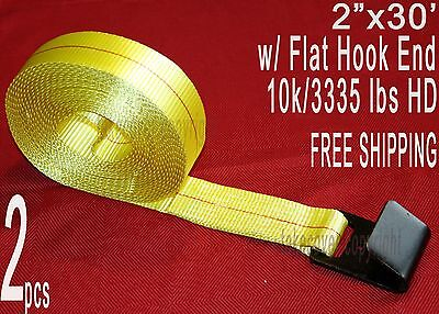 "Two (2x) 2"" x 30' Winch Straps w/ Flat Hook End Tiedown Trailer Flatbed Truck"