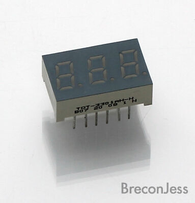 LED display 7 segment TOT-3301AH-N  22mm x 14mm 3 Digits & Dots 8.8.8. MBD004