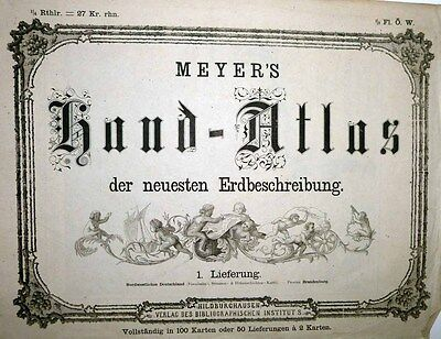 1861 Meyers Atlas Subscription Supplement 2 Maps NW Germany & Brandenburg RARE!