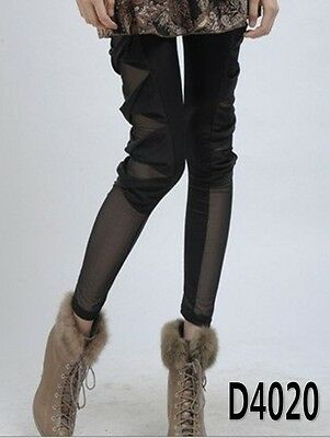 Woman Lady New Fashion celebrity style Black Side Bow Lace Tights Leggings Pants