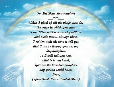 Christmas /Birthday Gift For Stepdaughter Personalized Poem Gift Rainbow Hands