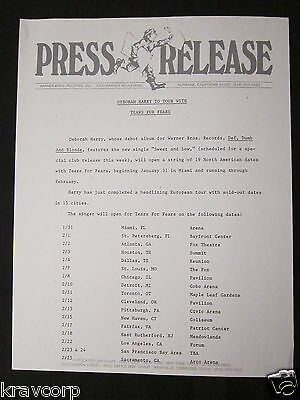 Deborah Harry 'Tears For Fears Tour' 1990 Press Release--Blondie