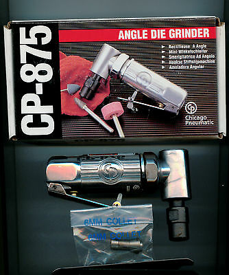 """Chicago Pneumatic CP-875 Mini Angle Air Die Grinder with 1/4"""",6MM collet, Taiwan"""