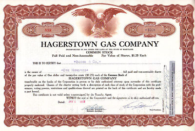 Hagerstown Gas Company MD 1958 Stock Certificate