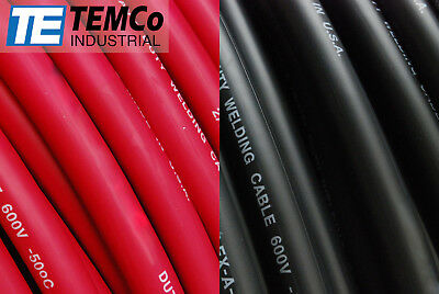 WELDING CABLE 1/0 10' 5' BLACK 5' RED FT BATTERY LEADS USA NEW Gauge Copper AWG