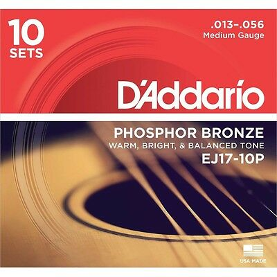 D'addario 10 Sets EJ17 Medium Acoustic Guitar Strings EJ 17 Pack 10 13-56
