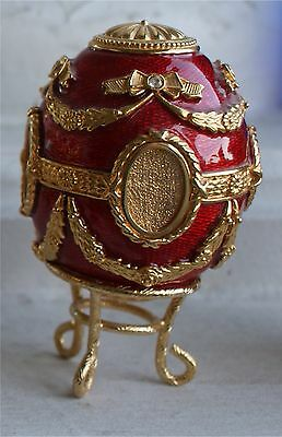 JOAN RIVERS FABERGE (LOOK) EGG ENAMEL BRASS RED OVAL FRAMES TINY