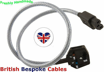 SILVER PLATED 2m Audiophile SHIELDED IEC Mains Power Cable UK MADE fits Cyrus