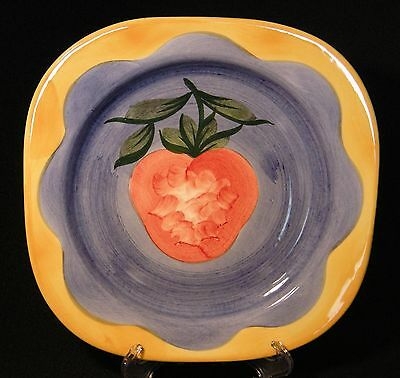 Pizzato Strawberry Square Plate  Made in Italy Handpainted EUC